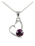 Birthstone Heart Pendant February Amethyst