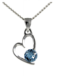 Birthstone Heart Pendant March Aquamarine