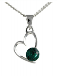 Birthstone Heart Pendant May Emerald