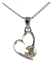 Birthstone Heart Pendant November Citrine