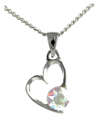 Birthstone Heart Pendant October Opal