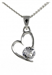 Birthstone Heart Pendant April Diamond