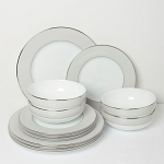 Fairmont & Main Cheltenham Oyster 12 Piece Box Set - Oyster & White