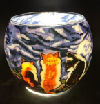 Benaya Cat Whispers Light Glass Tealight Holder
