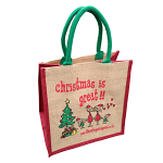Jute Shopping Bag - Christmas is Great