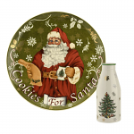 Spode Christmas Tree - Santa Cookies Plate and Milk Bottle