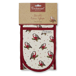 Cooksmart Christmas Red Red Robin Double Oven Gloves