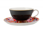 Maxwell & Williams Cashmere Bloems Tea Cup & Saucer 200ml Black/Red