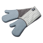 Zeal Silicone Heavy Duty Double Oven Gloves Mitts Duck Egg Blue - Gingham