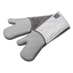 Zeal Silicone Heavy Duty Double Oven Gloves Mitts French Grey - Gingham