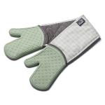 Zeal Silicone Heavy Duty Double Oven Gloves Mitts Sage Green - Gingham