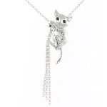 Cat Pendant - Cat Climbing with Tassel - Rhodium