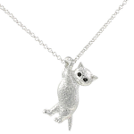 Cat Pendant - Cat Hanging from Chain - Rhodium