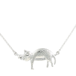 Cat Pendant - Cat Sleeping on Bar - Rhodium