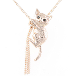 Cat Pendant - Cat Climbing with Tassel - Rose Gold