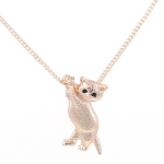 Cat Pendant - Cat Hanging from Chain - Rose Gold