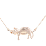 Cat Pendant - Cat Sleeping on Bar - Rose Gold