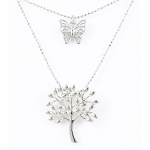 Layered Pendant - Tree of Life & Butterfly - Rhodium