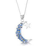 Shrieking Violet Forget me Not Pendant - Moon & Star