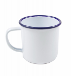 Falcon Enamel Mug (White with Blue Rim)