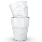 FiftyEight Products 2 Mug set without Handle in White 350 ml - Grumpy & Impish