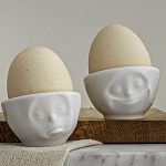 FiftyEight Products Egg Cup Set No 3 White - Happy & Hmpff