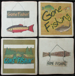 Gone Fishing Vintage Coasters
