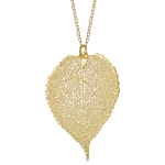 Shrieking Violet Gold Plated Leaf Necklace with a Real Aspen Leaf Dipped in Gold