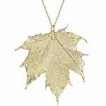 Shrieking Violet Gold Plated Leaf Necklace with a Real Canadian Sugar Maple Leaf Dipped in Gold