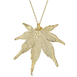 Shrieking Violet Gold Plated Leaf Necklace with a Real Japanese Maple Leaf Dipped in Gold