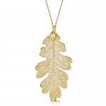 Shrieking Violet Gold Plated Leaf Necklace with a Real Oak Leaf Dipped in Gold