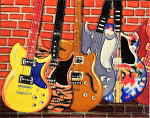 Ceramic Art Tile - Guitars 1 11in x 14in