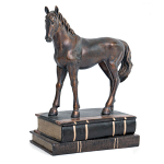 Bentley & Bo - Bronze Coloured Sculpture - Horse on a Book Box