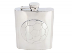 Hip Flask Football Ball Design 6oz Shiny Stainless Steel