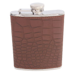 Hip Flask Brown Crocodile Print 5oz Shiny Stainless Steel