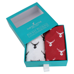 Red & White Stag Print Cotton Handkerchief Set