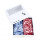 Red and Blue Paisley Print Cotton Handkerchief Set