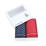Men's Handkerchiefs - Red and Blue Spots Print Cotton - Twin Pack