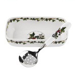 Portmeirion Holly & Ivy Cranberry Dish & Slotted Spoon