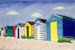 Ceramic Art Tile - Holiday Huts Beach Huts 8in x 12in