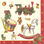 IHR - Napkins - Luncheon - Magasin De Jouets cr Red - Christmas Toys