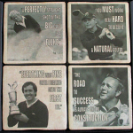 Golf Quotes Vintage Poster Coasters