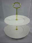 Duchess China White - 2 Tier Cake Stand