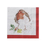 Wrendale Designs - Napkins - Cocktail - Christmas Robin