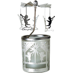 Kerzenfarm Carousel Metal & Glass Angels Tealight Holder