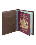 Leather Passport Holder with Pheasant Lining - Brown