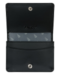 Leather Card Holder with Yacht Lining - Black