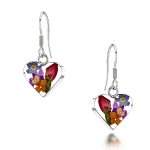 Shrieking Violet Mixed Flowers Drop Earrings - Small Heart
