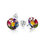 Shrieking Violet Mixed Flowers stud Earrings - Small round