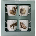 Royal Worcester Wrendale Designs - Mugs 4 - Cow Sheep Donkey and Pig
